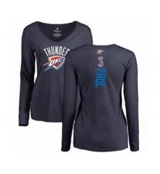 Basketball Women's Oklahoma City Thunder #3 Chris Paul Navy Blue Backer Long Sleeve T-Shirt