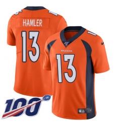 Men's Denver Broncos #13 KJ Hamler Orange Team Color Stitched 100th Season Vapor Untouchable Limited Jersey